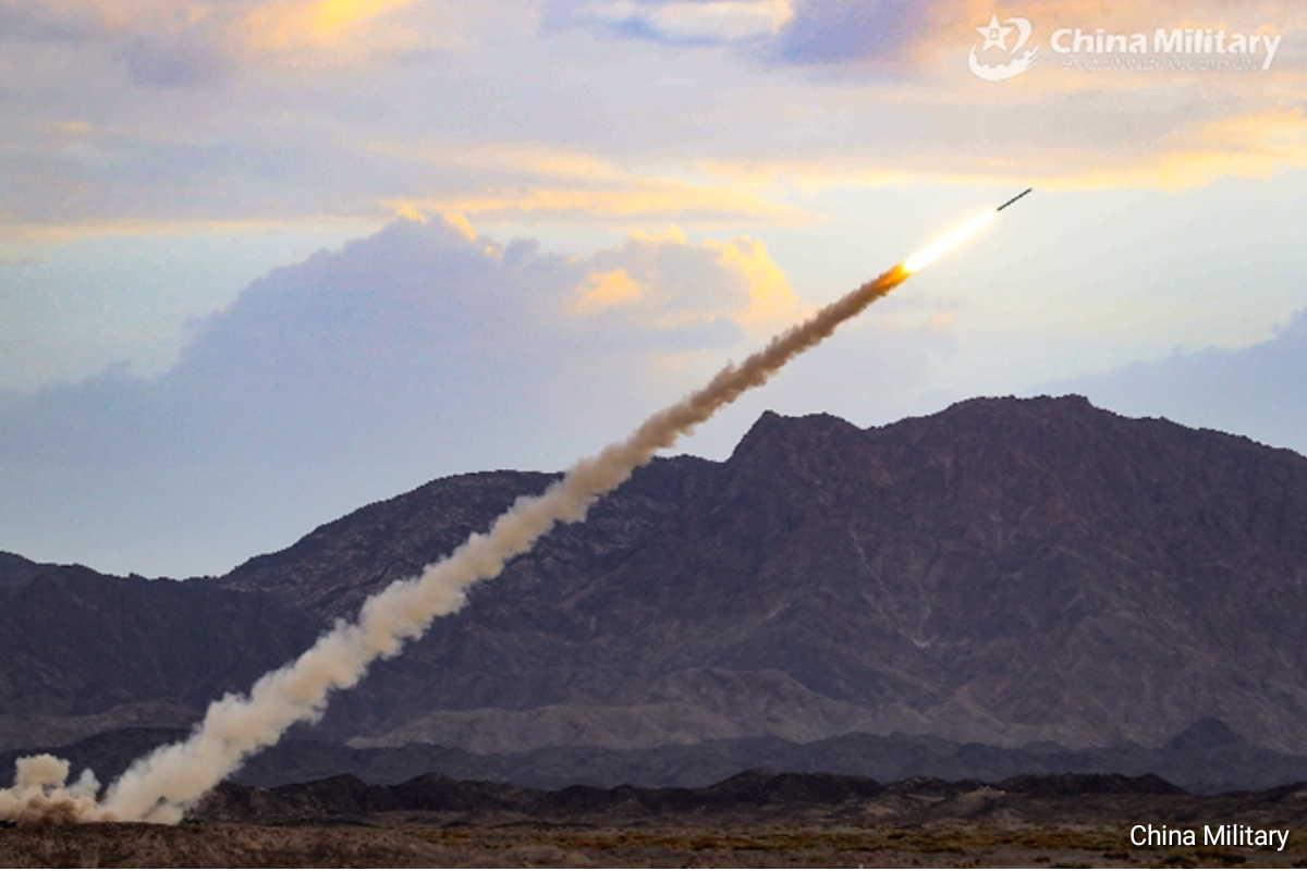 PLA 71st Group Army launches rockets at mock targets during a round-the-clock live-fire operation in northwestern China's Gobi desert on July 15, 2020- China Military