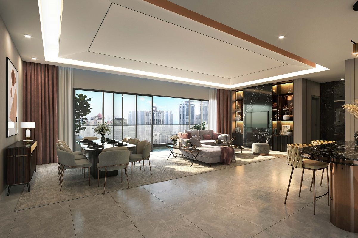 An artist's impression of the living and dining area.