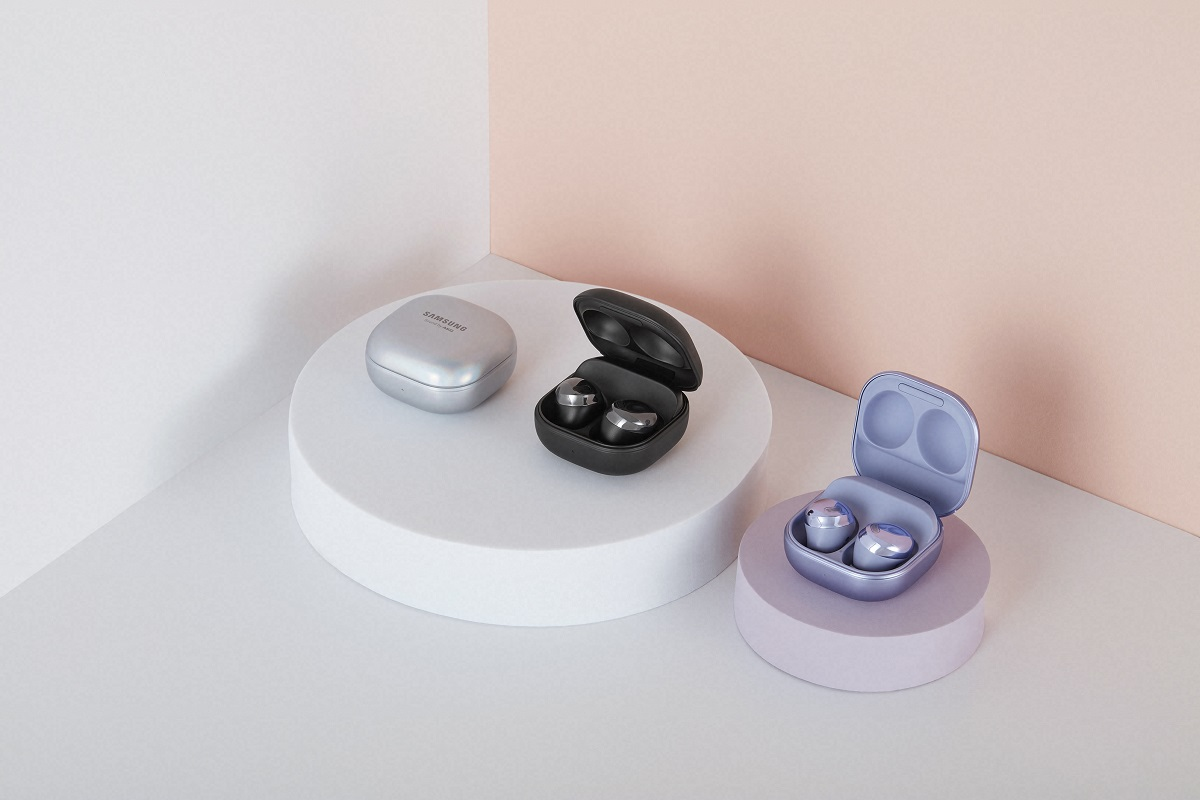 The Samsung Galaxy Buds Pro in their cases.