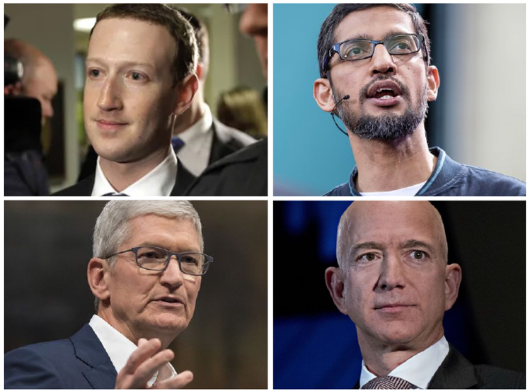 They are likely to face a torrent of critical questions from lawmakers in a televised hearing  about their companies' business practices. (Photos by Bloomberg)