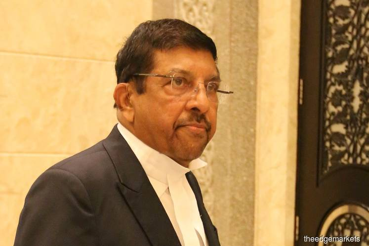 Datuk K Kumaraendran, the lawyer representing Bintulu MP Datuk Seri Tiong King Sing and Law Ka Hieng in the PKFZ forfeiture case. (Photo by Mohd Suhaimi Mohamed Yusuf/The Edge)