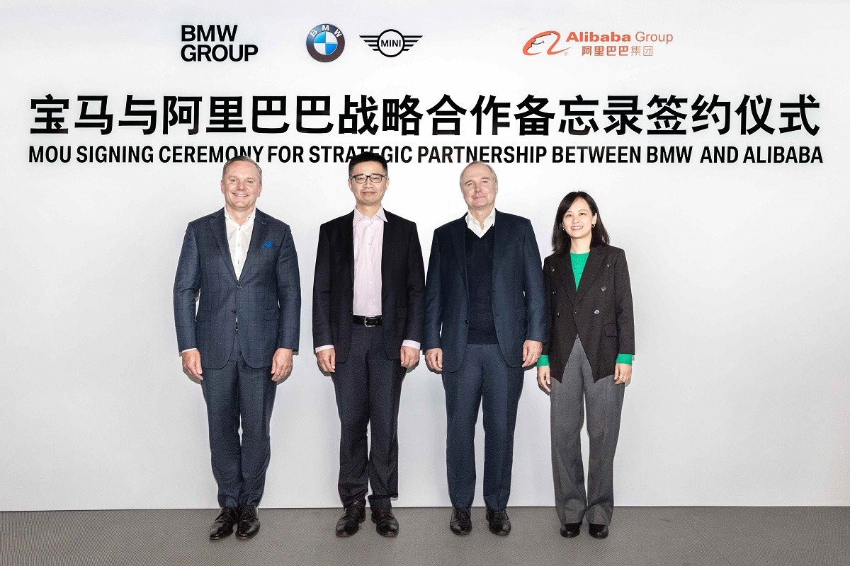 (From left) BMW Brilliance Automotive Ltd sales and marketing senior vice president Sean Green, Alibaba Group vice president and Alibaba Digital Economy enterprise service secretary general Jet Jing, BMW Group China region president and chief executive officer (CEO) Jochen Goller, and Lingyue Digital Information Technology Co Ltd president and CEO Alice Mei.