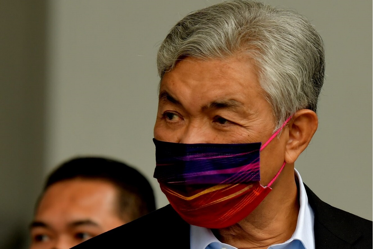 """To a question on whether he would repatriate funds from his offshore accounts back into Malaysia, following the Pandora Papers revelation, Ahmad Zahid responded by saying he """"does not avoid paying taxes"""", unlike the DAP man, without elaborating. (Photo by Mohd Suhaimi Mohamed Yusuf/The Edge)"""
