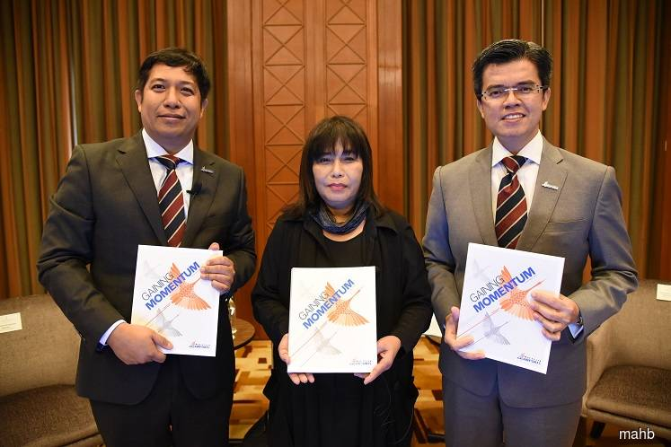 (From left): MAHB group CFO Mohamed Rastam Shahrom, chairman Tan Sri Zainun Ali and group CEO Datuk Mohd Shukrie Mohd Salleh at a press conference after the group's virtual AGM on June 30. (Photo by MAHB)