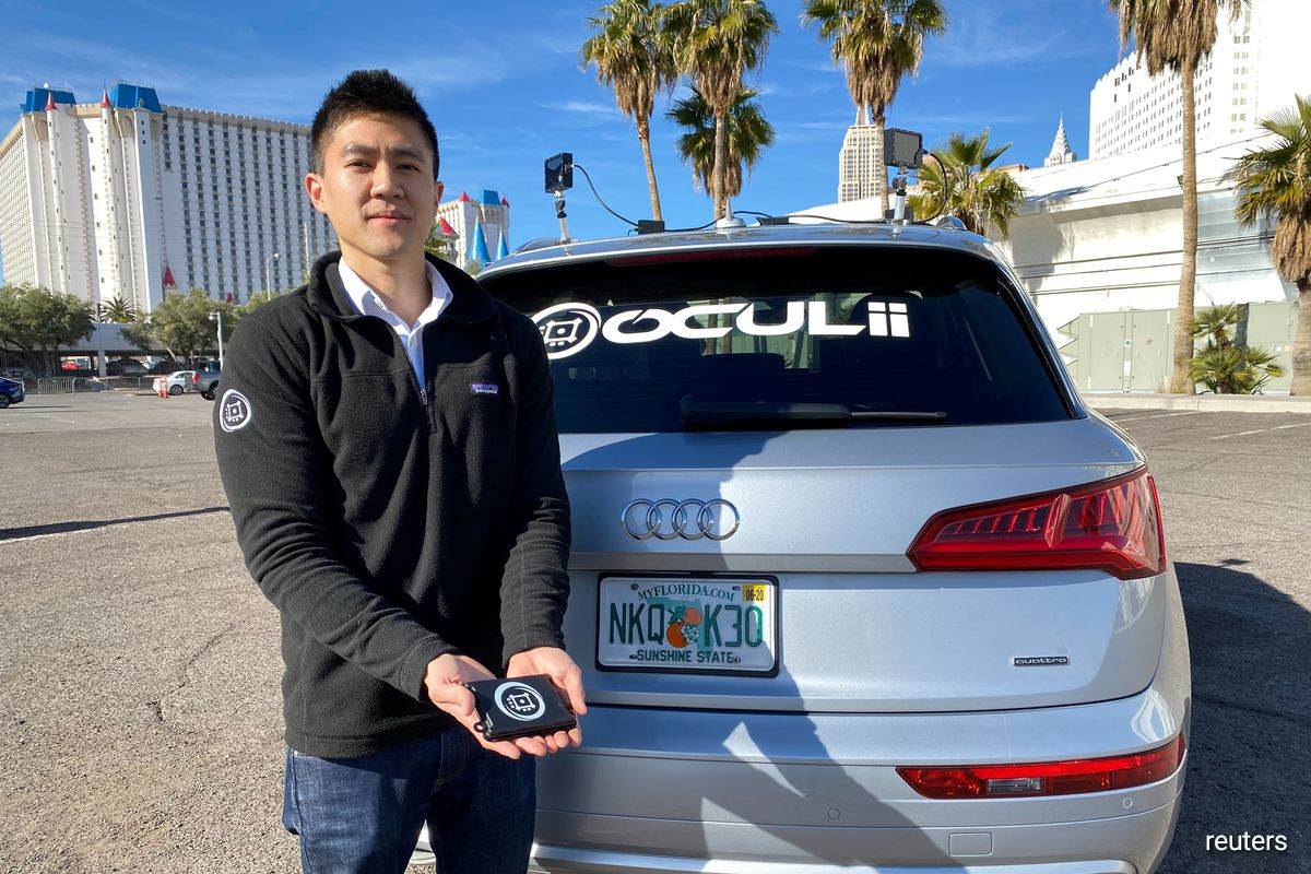 Oculii CEO Steven Hong shows the company's radar kit at the CES tech show in Las Vegas, Nevada, U.S. January 5, 2020.