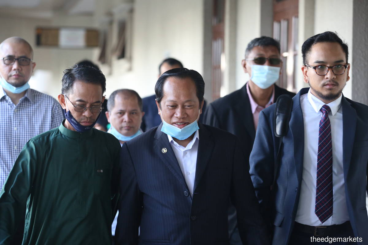 Ahmad Maslan's (centre) case came up for mention today. (Photo by Sam Fong/The Edge)