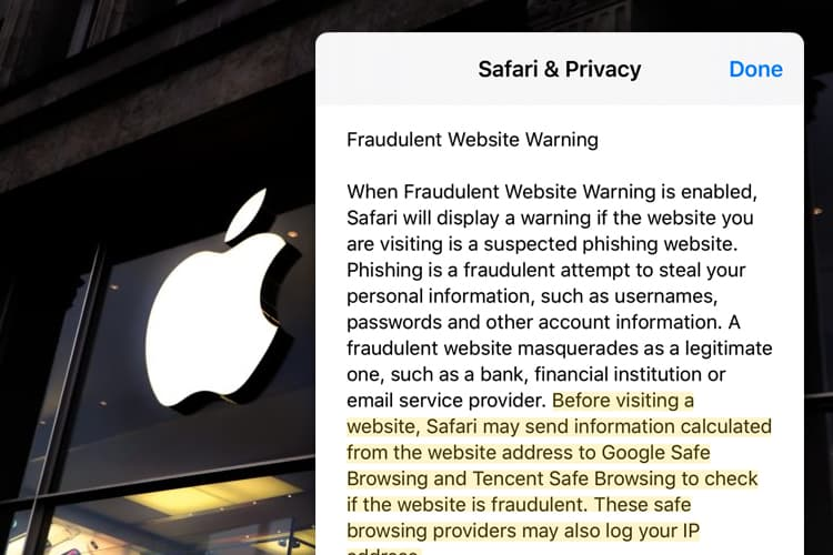 Safari in iOS Sending Safe Browsing Data to Tencent