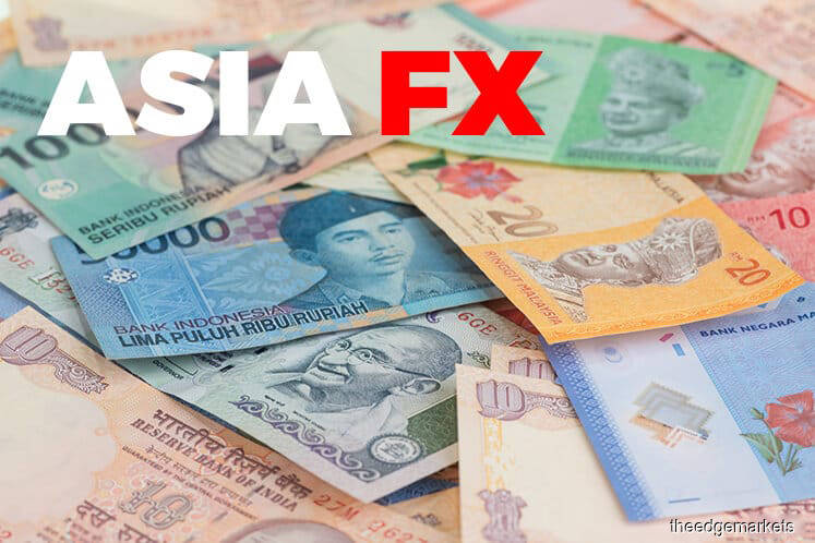 Asia currencies mostly weaker on global growth concerns