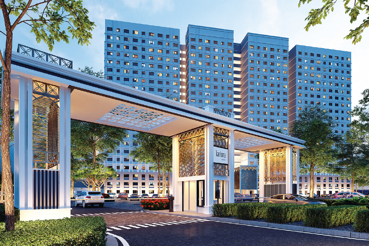Karisma @ Eco Majestic uses clean horizontal and vertical lines to characterise a classic façade that marries the township's elegant and serene concept  (Photo by T&T Architect)