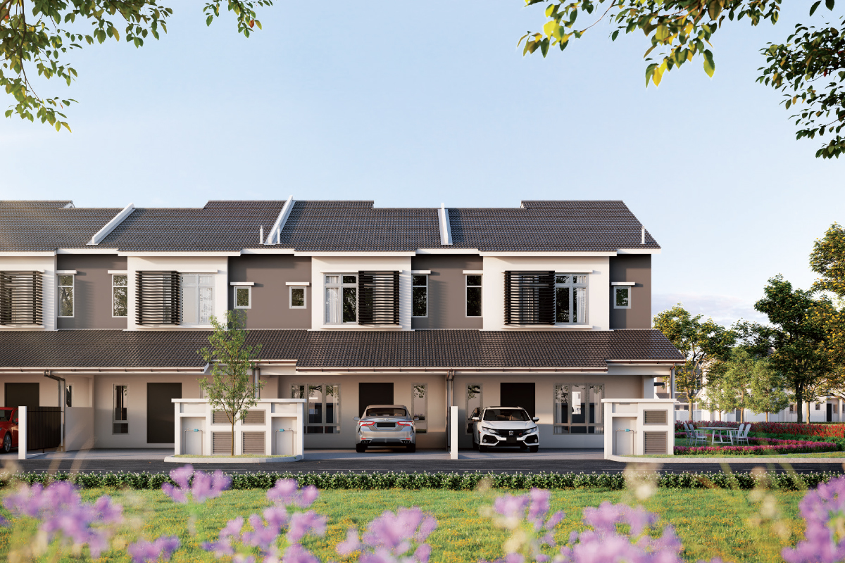 An artist's impression of the 2-storey terraced houses of Aury in the Iringan Bayu township in Seremban (Photo by OSK Property)