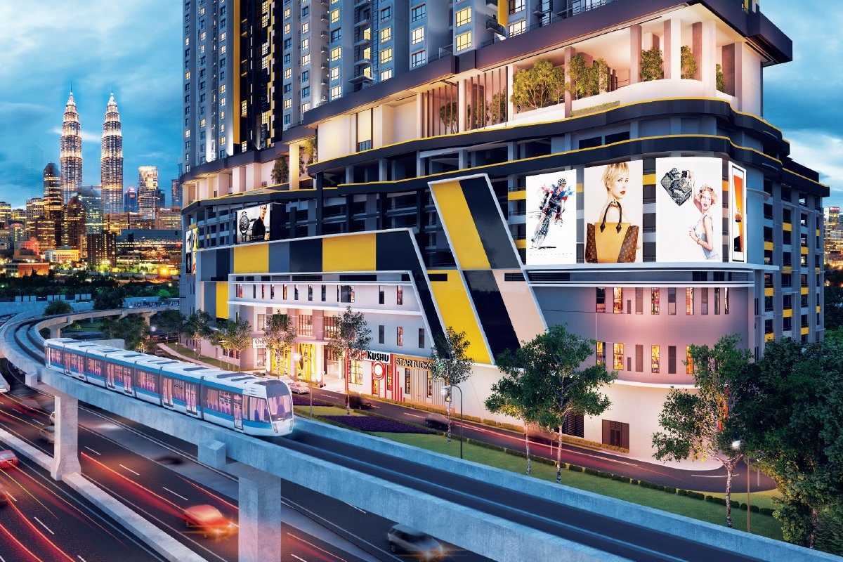 An artist's impression of TR2 Residence which will be connected to the Titiwangsa LRT, monorail and upcoming MRT interchange stations (Photo by MKH)