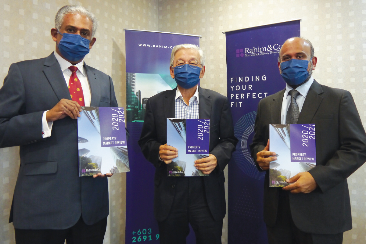 From left: Siva, Abdul Rahim and Sulaiman at the virtual launch of Rahim & Co's Property Market Review 2020/2021  (Photo by Rahim & Co)