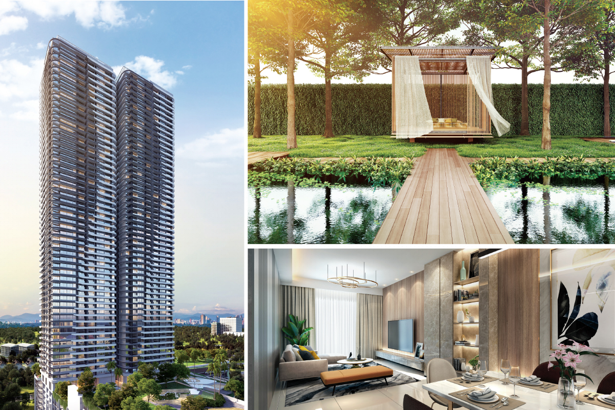Clockwise from left: Artists' impressions of Verdura, the pavilion in the zen garden, and the living area of a 1,478 sq ft unit in Phase 1 (Photo by Bangsar Hill Park Development)