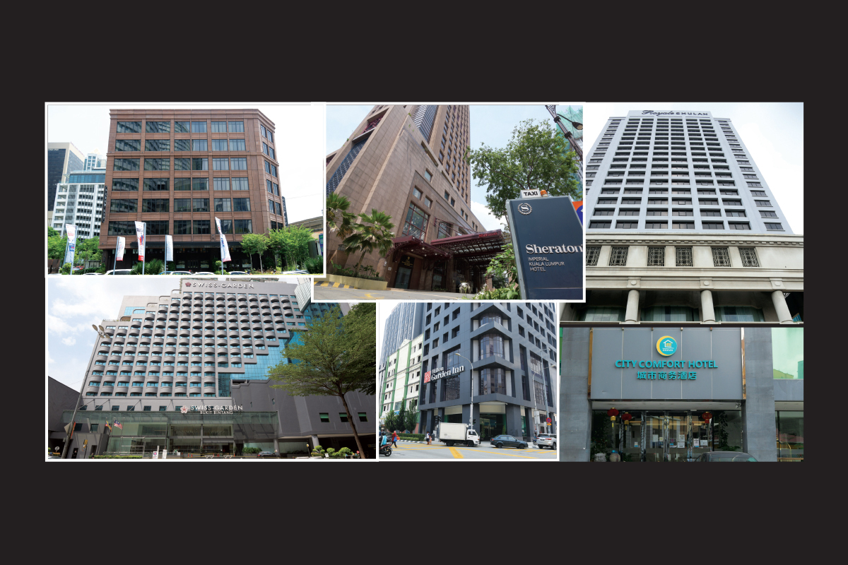 Clockwise from top left: The Chow Kit hotel, formerly a Tune Hotel, in Jalan Sultan Ismail; Sheraton Imperial Hotel in Jalan Sultan Ismail; Royale Chulan Bukit Bintang; City Comfort Hotel in Jalan Pudu Lama; Hilton Garden Inn in Jalan Tuanku Abdul Rahman and Swiss-Garden Hotel Bukit Bintang (Photo by Patrick Goh/The Edge)