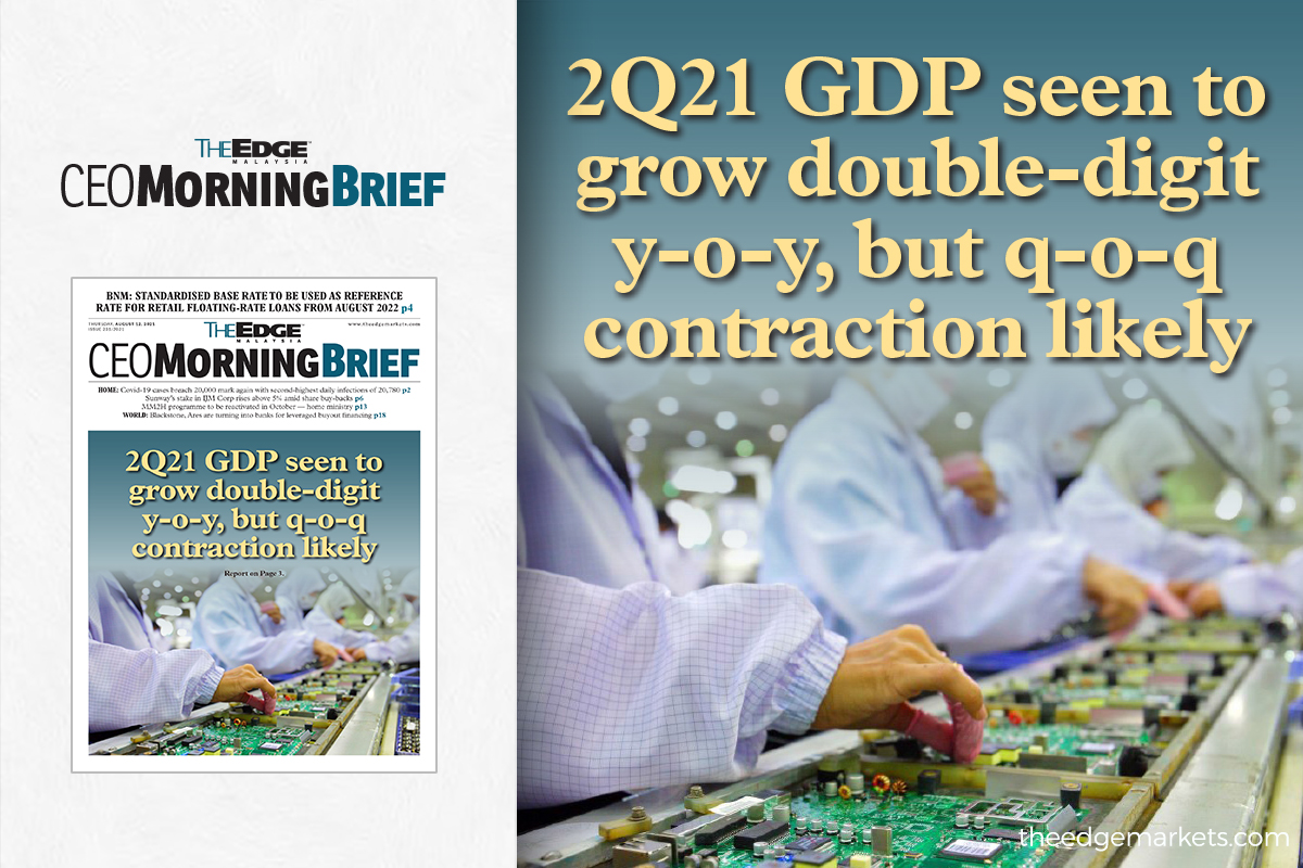 2Q21 GDP seen to grow double-digit y-o-y, but q-o-q contraction likely