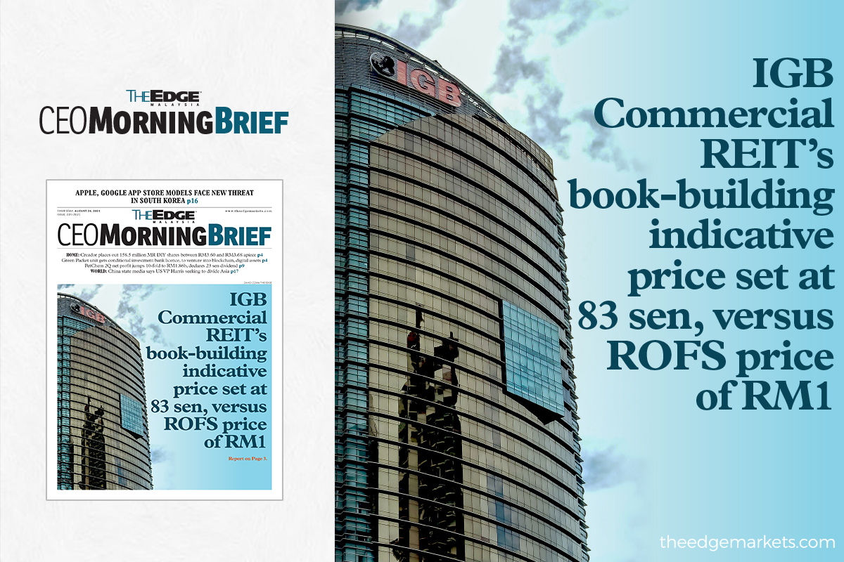 IGB Commercial REIT's book-building indicative price set at 83 sen, versus ROFS price of RM1