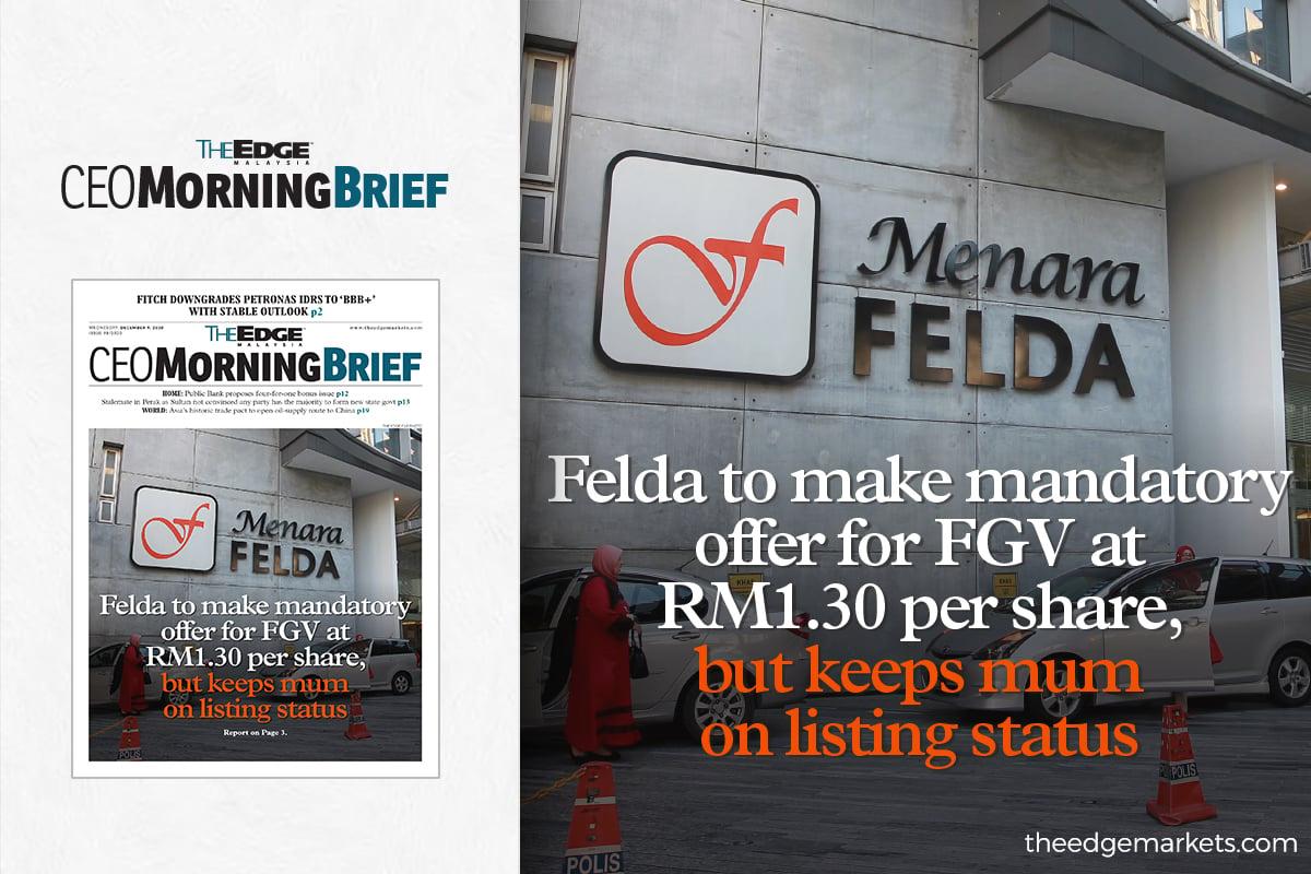 Felda to make mandatory offer for FGV at RM1.30 per share, but keeps mum on listing status