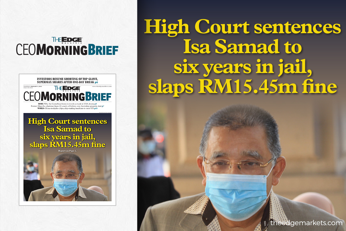 If Mohd Isa's appeal against his conviction is set aside and that the accused fails to pay the RM15.45 million fine, he will have to face an additional 18-year jail sentence.