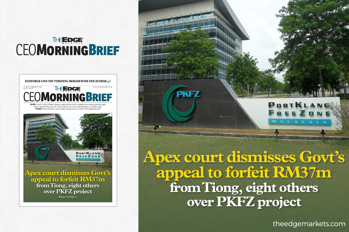 Apex court dismisses Govt's appeal to forfeit RM37m from Tiong, eight others over PKFZ project