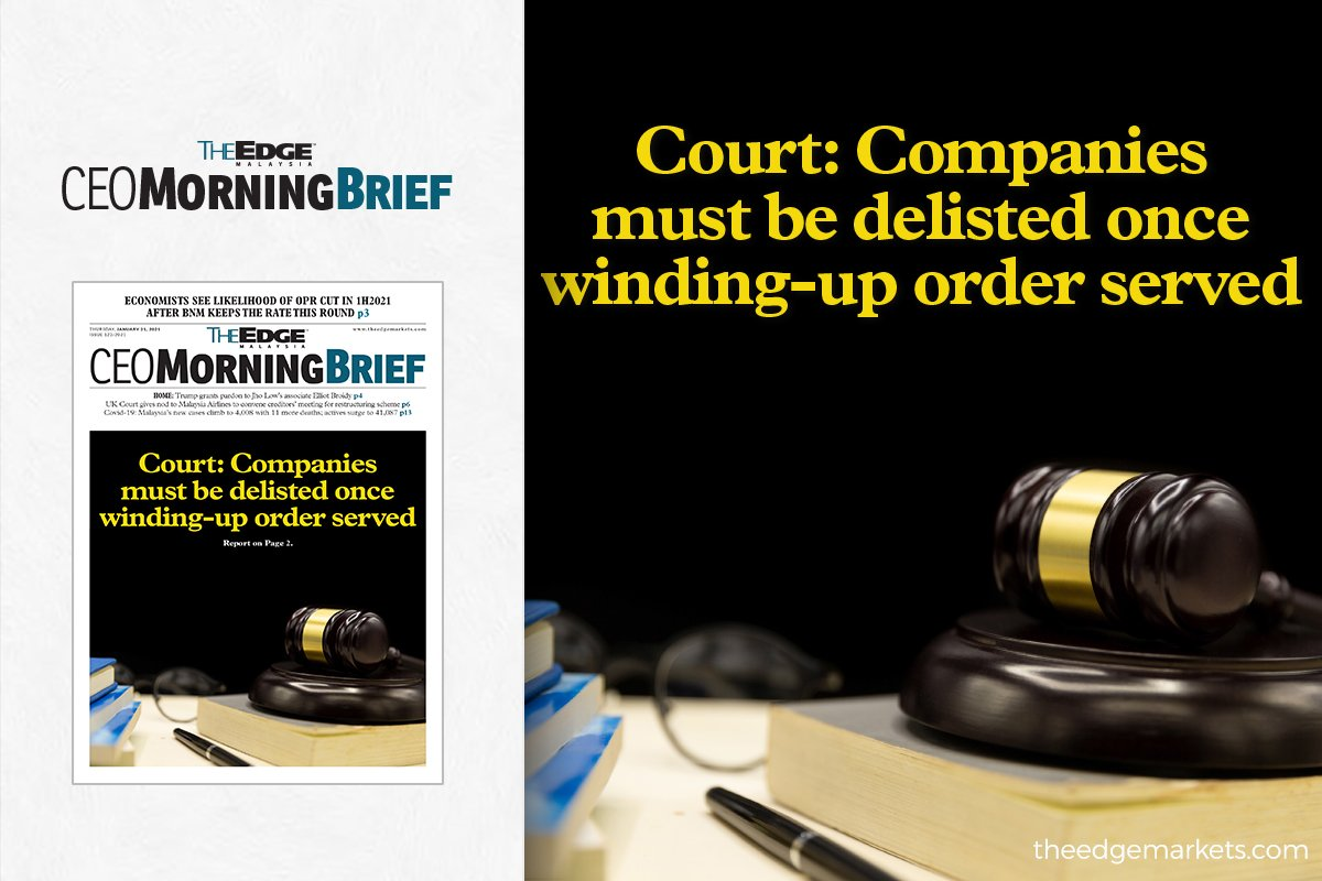 Court: Companies must be delisted once winding-up order served