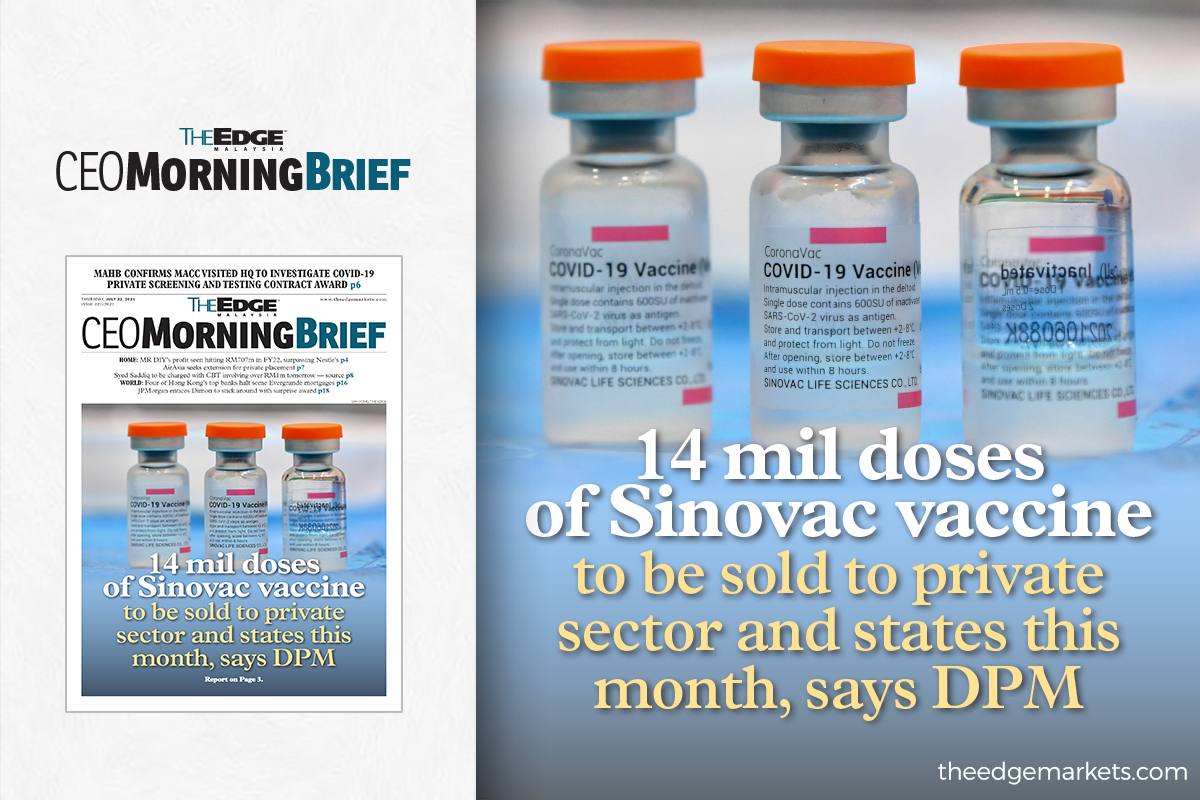 14 mil doses of Sinovac vaccine to be sold to interested states, private companies from this month, says DPM