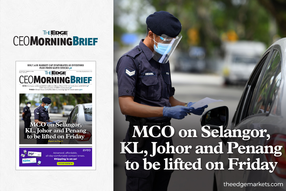 MCO on Selangor, KL, Johor and Penang to be lifted on Friday