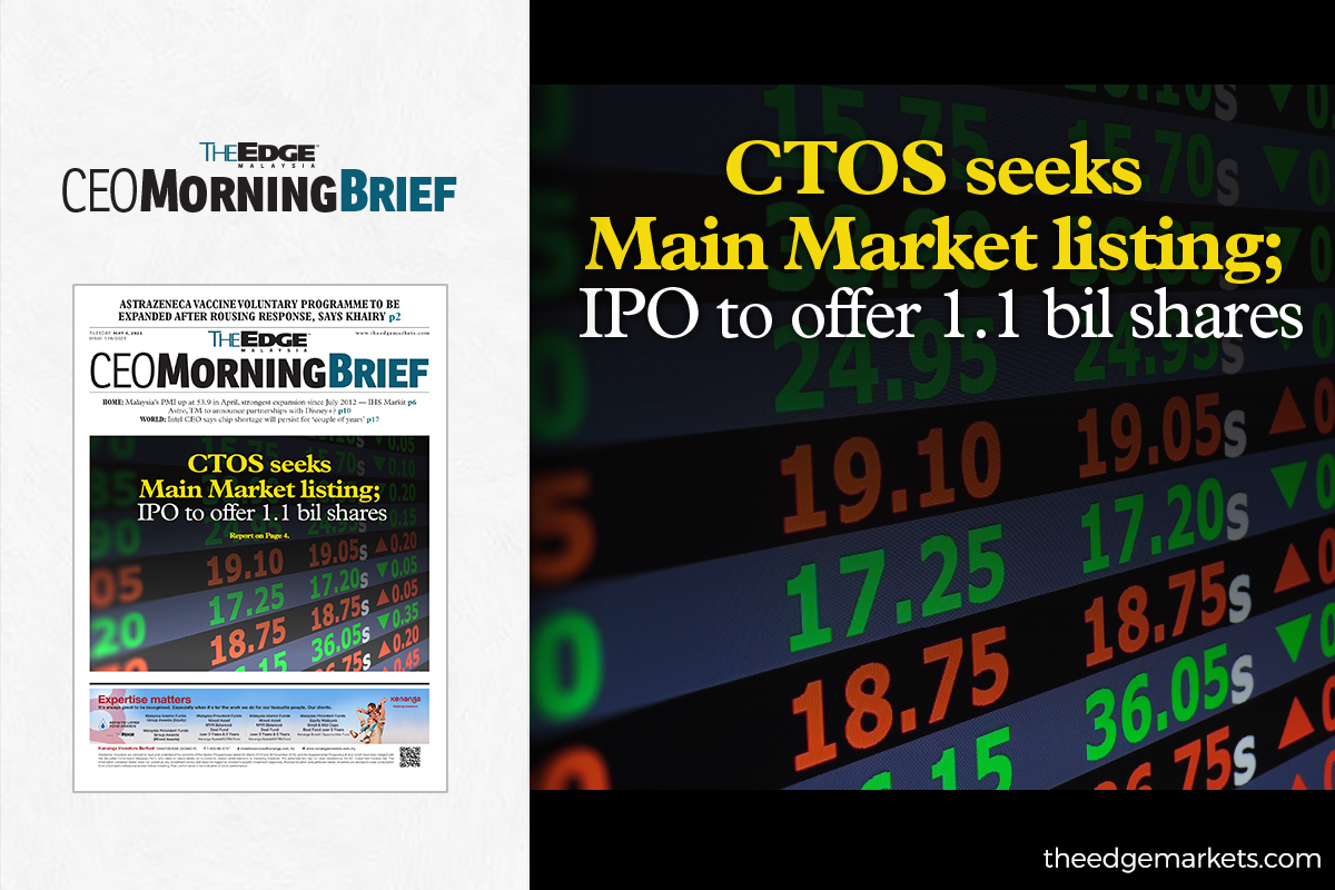 CTOS seeks Main Market listing; IPO to offer 1.1 bil shares