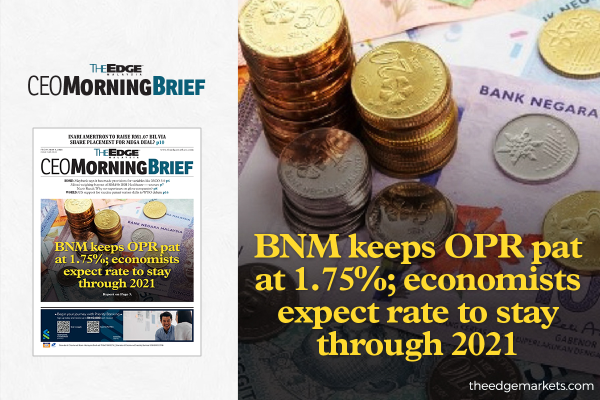 BNM keeps OPR pat at 1.75%; economists expect rate to stay through 2021