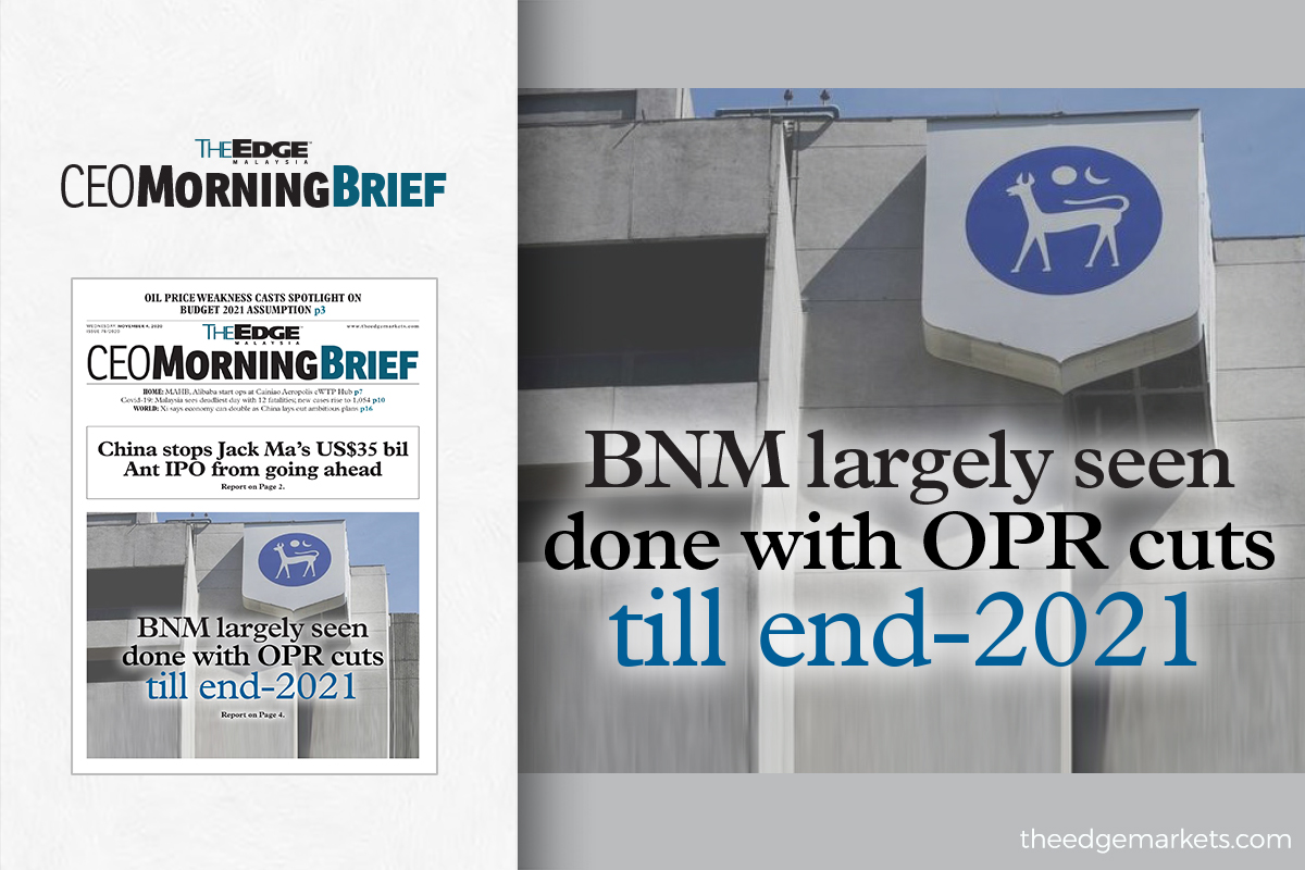 BNM largely seen done with OPR cuts till end-2021