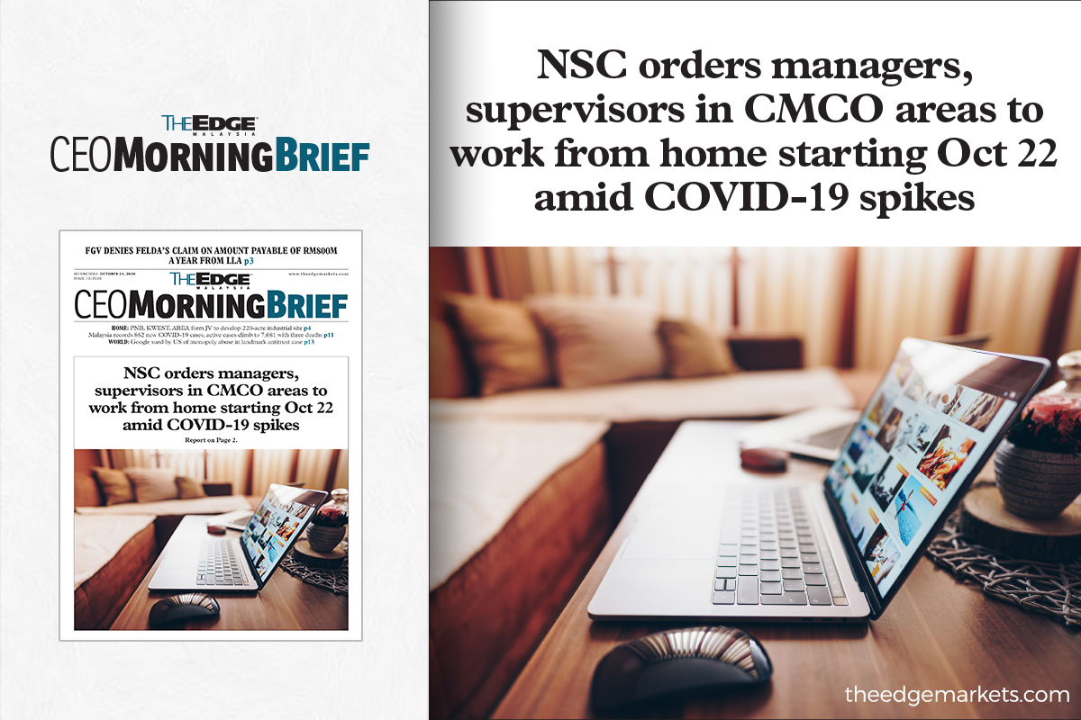 NSC orders managers, supervisors in CMCO areas to work from home starting Oct 22 amid COVID-19 spikes
