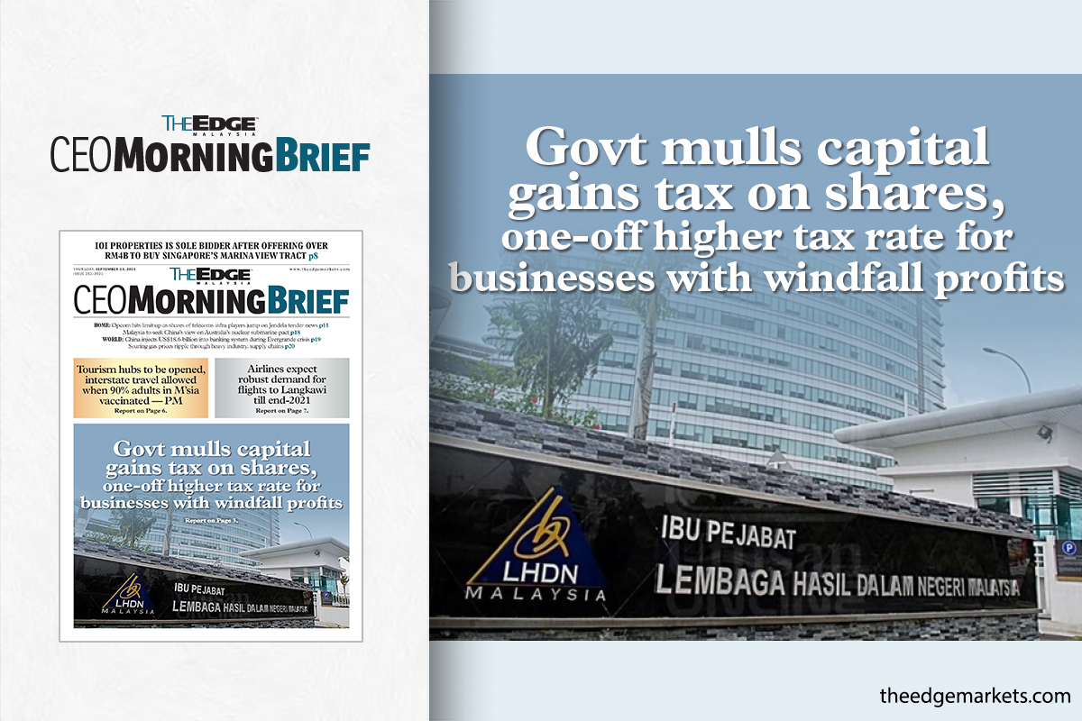 Govt mulls capital gains tax on shares, one-off higher tax rate for businesses with windfall profits