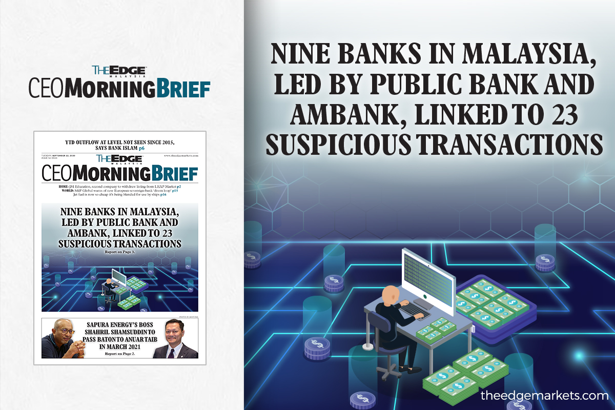 Nine banks in Malaysia, led by Public Bank and AmBank, linked to 23 suspicious transactions