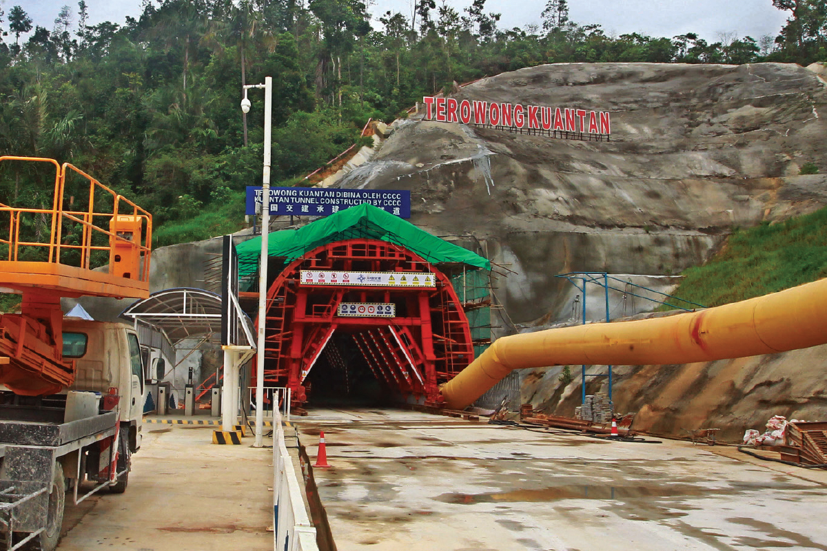 Construction works being carried out for the ECRL in Pahang. (Photo by Patrick Goh/The Edge)