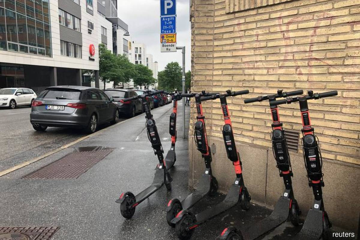 Reuters file photo of electric scooters at Stockholm, Sweden