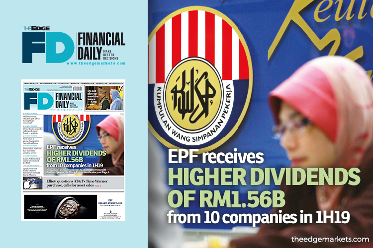 EPF receives higher dividends of RM1.56b from 10 companies in 1H19