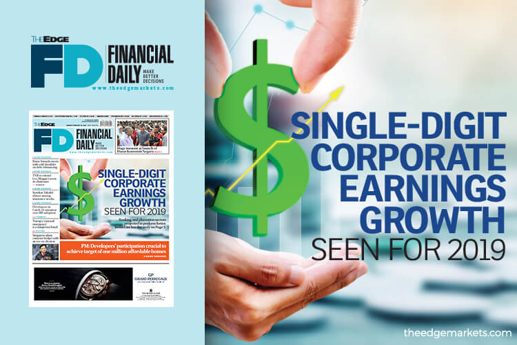Single-digit corporate earnings growth seen for 2019