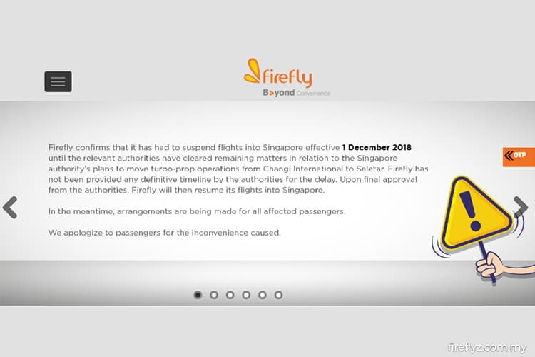Firefly confirms flight suspension into Singapore | The Edge