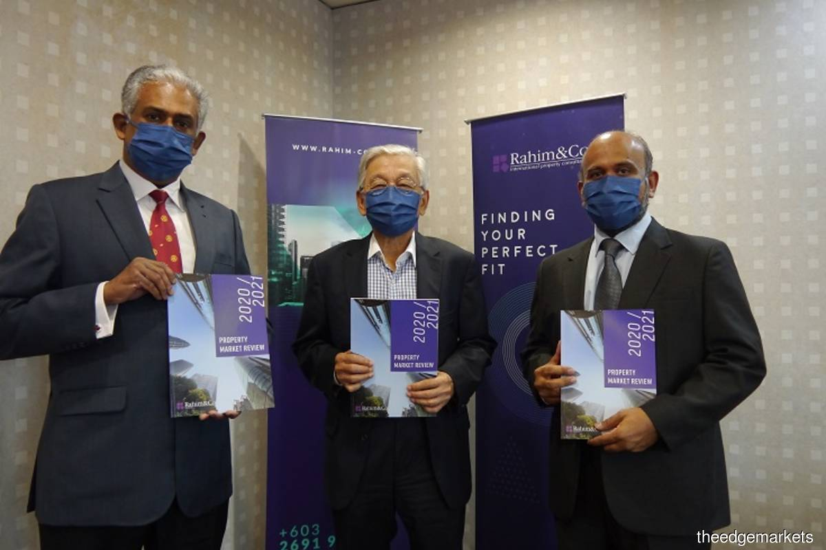 From left: Siva, Abdul Rahim and Sulaiman at the launch of Rahim & Co's Property Market Review 2020/2021 today.