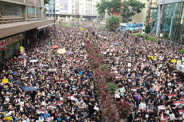 Hundreds of thousands in black choke Hong Kong's city centre in rally to demand Carrie Lam's resignation