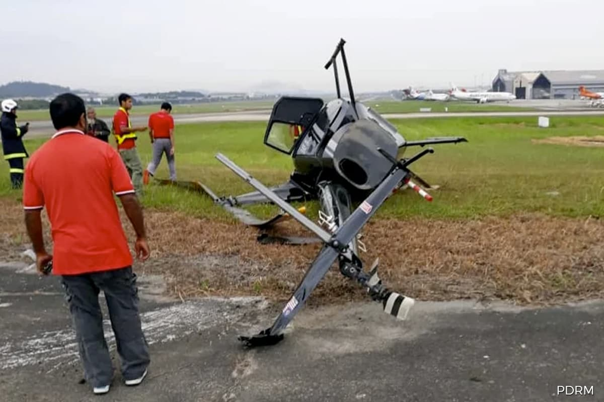 Chopper crashes at Subang Airport, all five on board safe