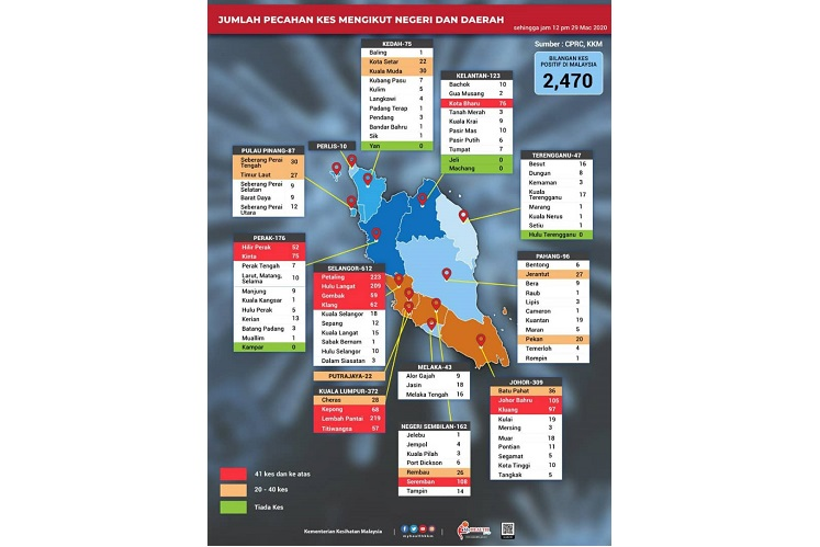 MoH lists 15 areas in Malaysia as red zones