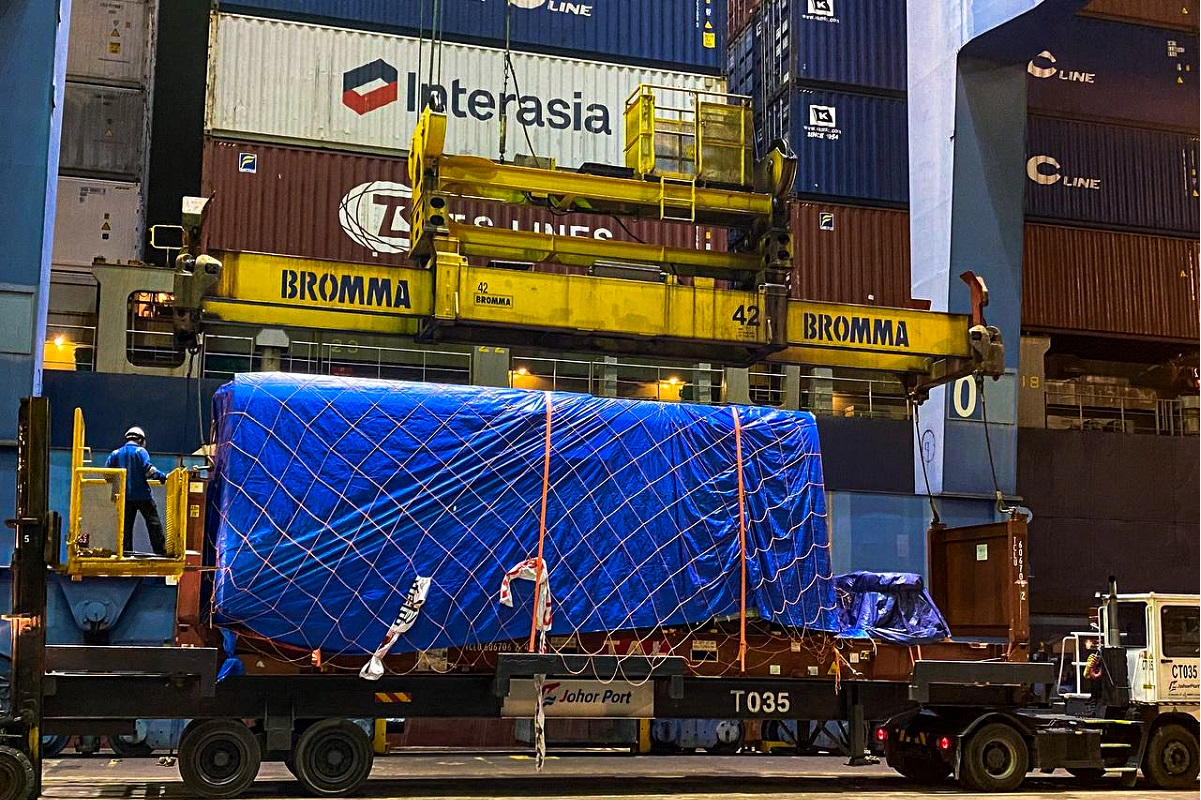 The arrival of the first ART system into Iskandar Malaysia, Johor. The image is taken upon its unloading at the Johor Port Container Terminal, Johor Port.
