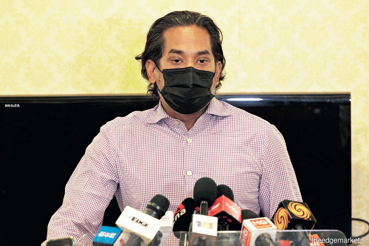 """""""The government is looking at incentives to shore up Covid-19 vaccination registration."""" — Khairy (Photo by Zahid Izzani/The Edge)"""