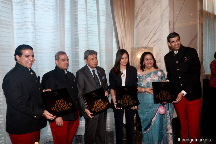 From left: Ashvin Valiram, Sharan Valiram, Sultan Sharafuddin Idris Shah, Tengku Permaisuri Norashikin, Datin Champa Valiram, and Mukesh Valiram. (Photographer: Haris Hassan/The Edge)