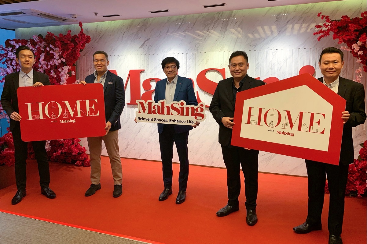 """Mah Sing's CEO Datuk Ho Hon Sang (centre) with senior management — (from left) general manager of branding and strategic marketing Bernard Yong, chief operating officer Benjamin Ong Chin Yee, chief operating officer Yeoh Chee Beng and general manager for sales and marketing Chris Chen — at the official launch of """"Home With Mah Sing"""" on Jan 11."""