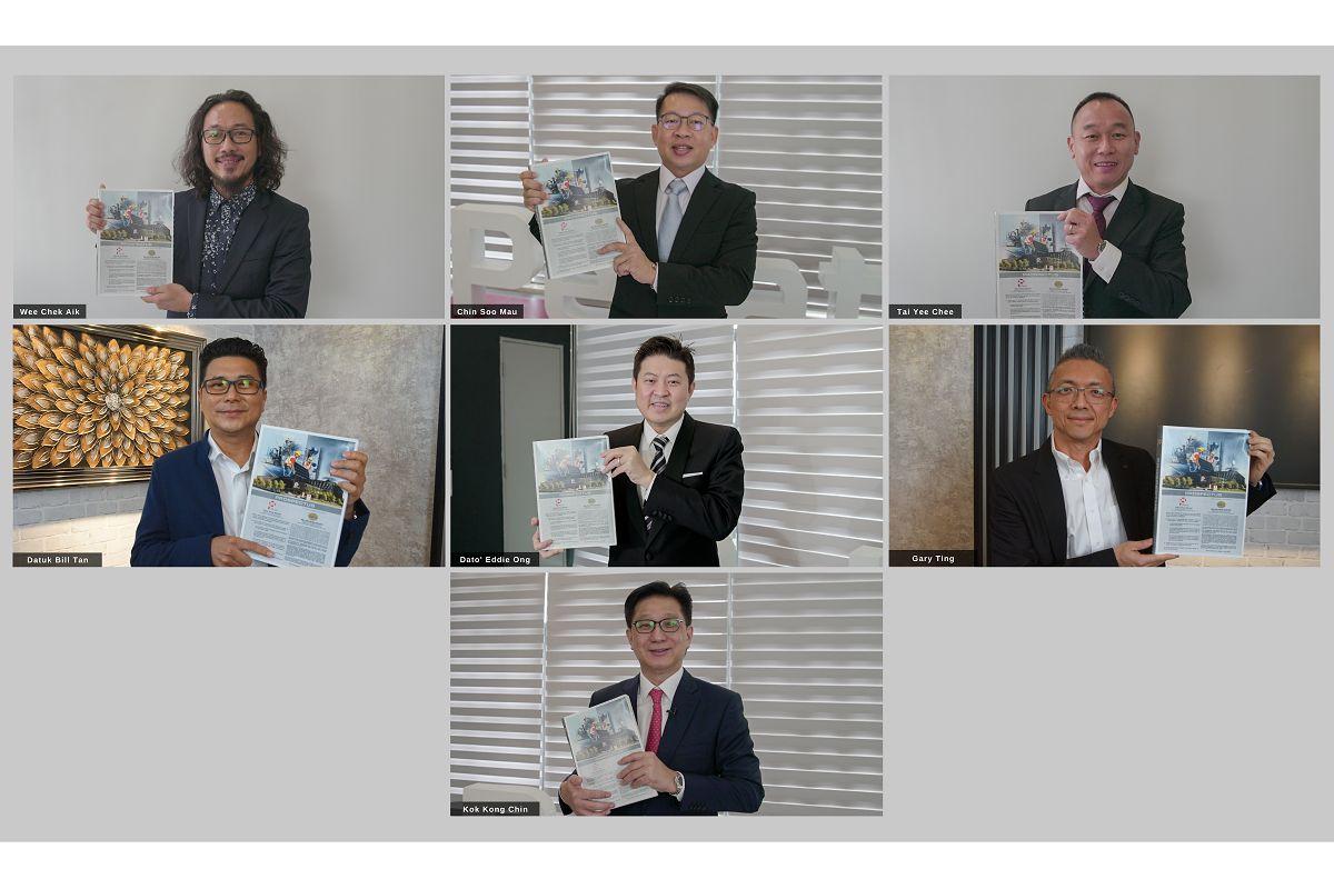 第一排左起:Pekat执行董事黄则亿、董事经理秦树茂、执行董事戴于智;第二排左起:M&A证券企业金融董事经理拿督陈俊㟽、Hextar集团总执行长Datuk Eddie Ong、M&A证券企业财务主管丁华代;第三排:Pekat主席Kok Kong Chin(图片来源:Pekat)
