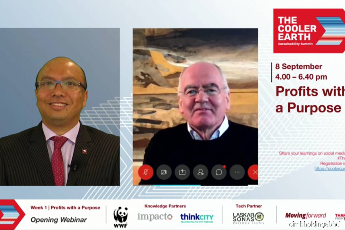 Dato' Abdul Rahman Ahmad — Group Chief Executive Officer, CIMB Group (left); and John Elkington— Author of The Triple Bottom-Line, Founder and Director, Volans, spoke virtually at CIMB's The Cooler Earth Sustainability Summit 2020 on Tues Sept 8, 2020. (Photo credit: CIMB Group Holdings Bhd)