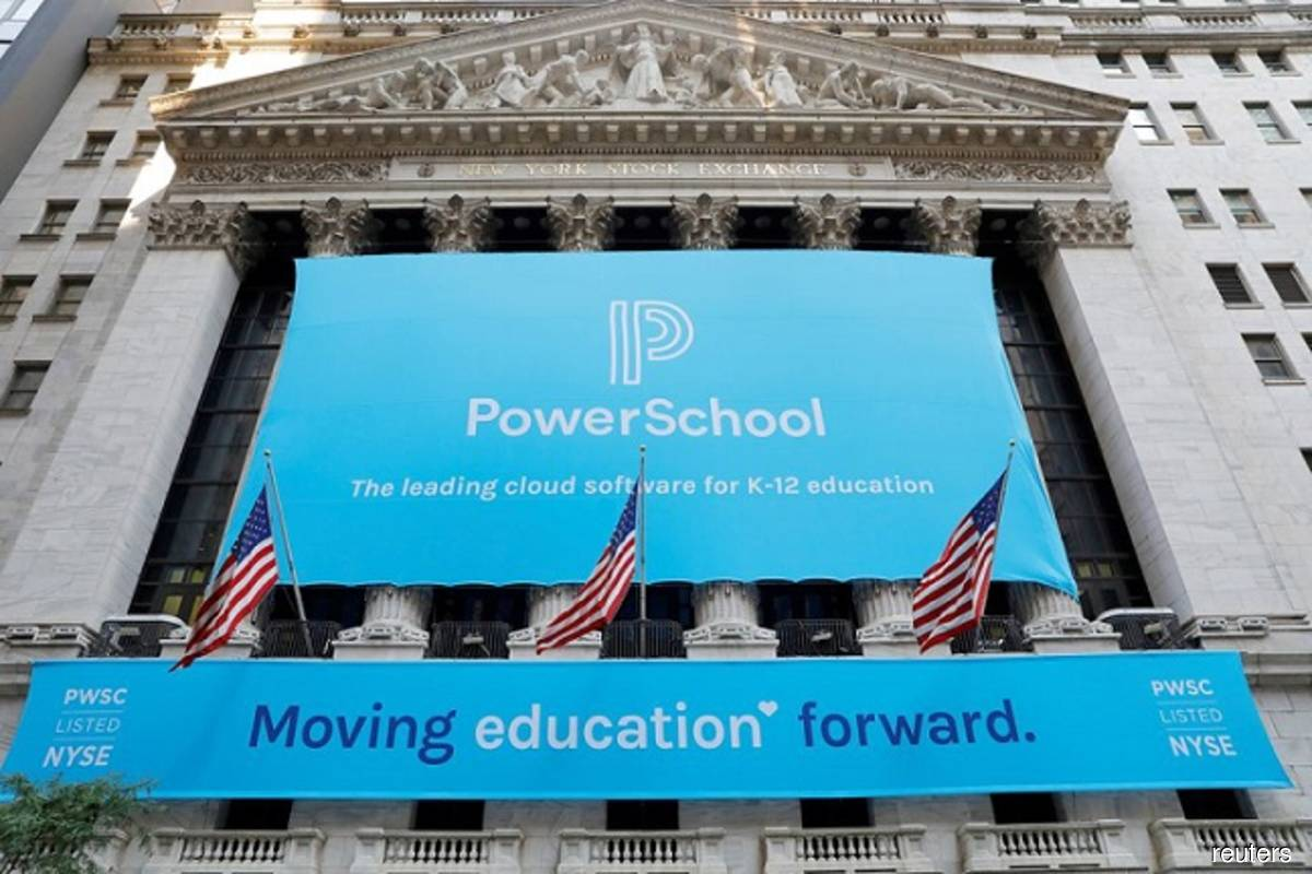 Signage for PowerSchool (NYSE:PWSC) is seen ahead of their initial public offering (IPO) at the New York Stock Exchange (NYSE) in New York City, New York, US on Monday, July 28, 2021. (Photo by Andrew Kelly/Reuters)