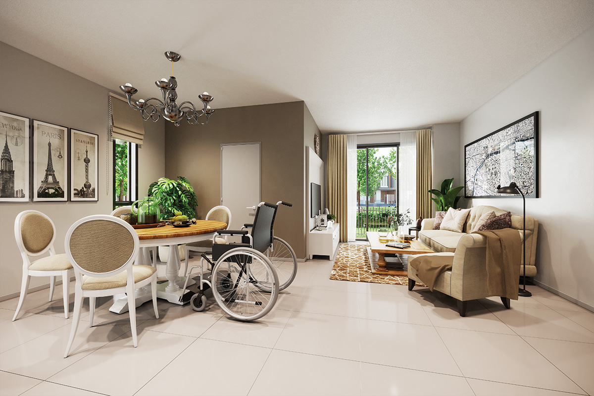 Examples of universal design concepts, such as larger spaces and lower furniture for wheelchair accessibility