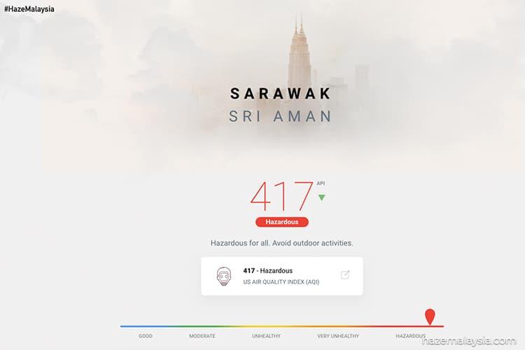 Air quality in Sarawak's Sri Aman hits hazardous level of 414